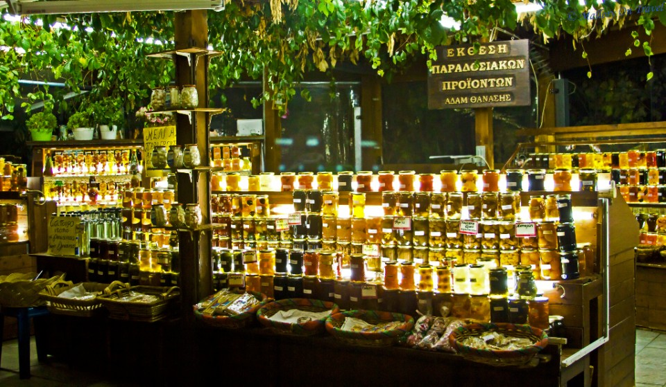 Traditional Greek stall holder in Makrinitsa on the Pelion in Greece on Mallory on Travel, adventure, adventure travel, photography