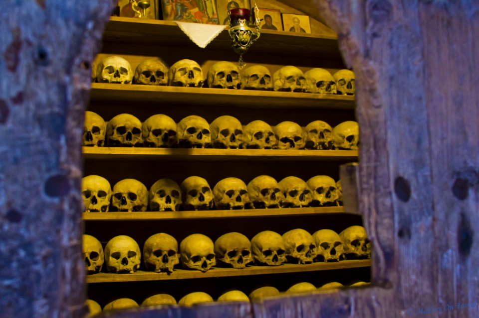 Monk skulls on view at the monastery of Grand Meteora in Thessaly, Greece on Mallory on Travel, adventure, adventure travel, photography