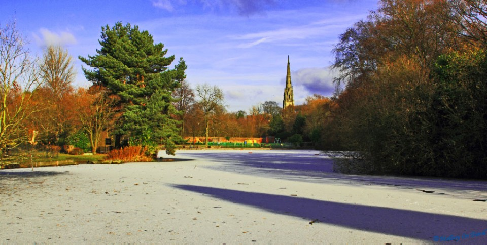 Doorstep exploration; A winter scene in Clowes Park in Salford on Mallory on Travel, adventure, adventure travel, photography