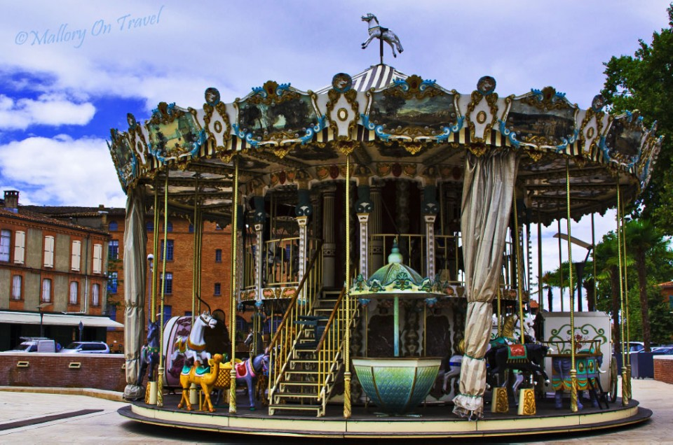 Carousel in Montauban city centre capital of the French region of Aveyron in the Midi-Pyrenees on Mallory on Travel, adventure, adventure travel, photography