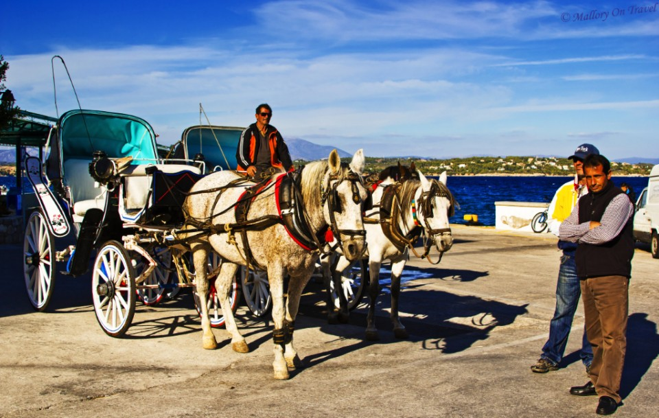 Sustainable travel; Horse and carriage on Spetses, Greece on Mallory on Travel, adventure, adventure travel, photography