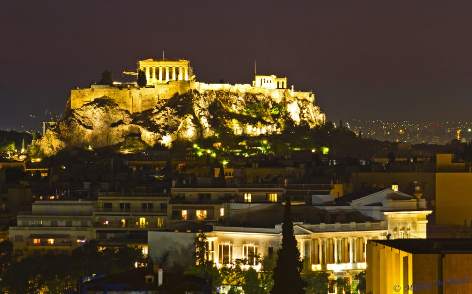 Athens night scene of the Acropolis and Parthenon in Greece on Mallory on Travel, adventure, adventure travel, photography