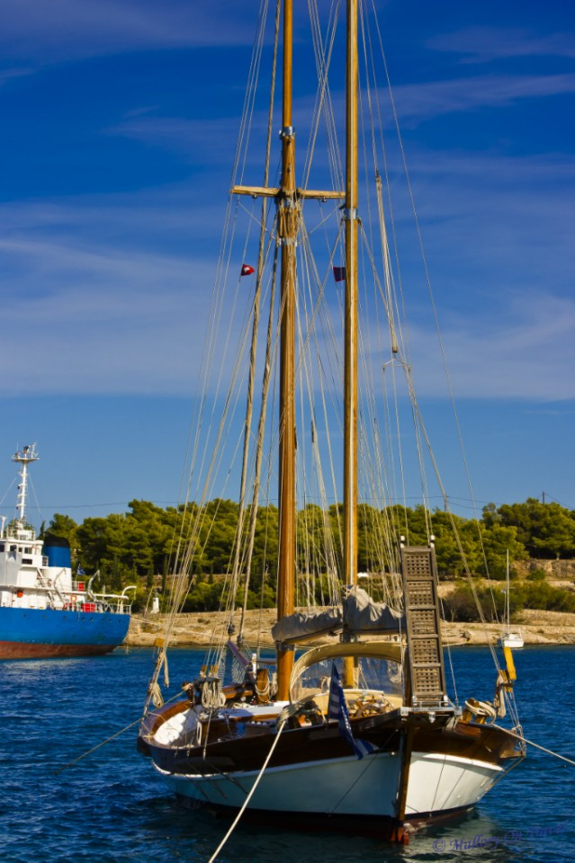Wanderlusting; Sailing boat on the Greek Saronic island of Spetses on Mallory on Travel, adventure, adventure travel, photography