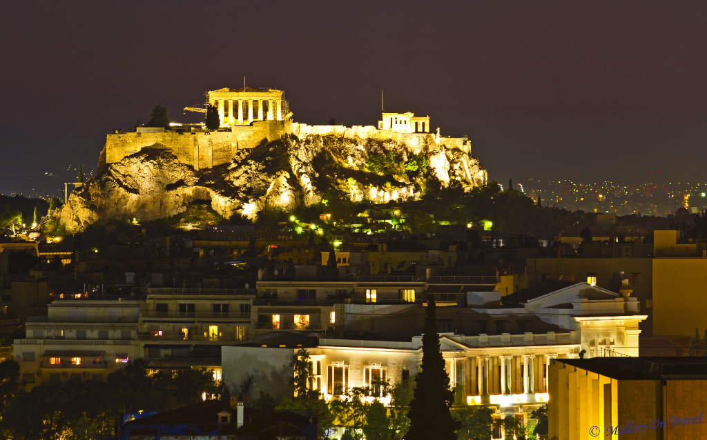 Night in Athens, capital city of Greece over the Acropolis and Parthenon on Mallory on Travel, adventure, adventure travel, photography