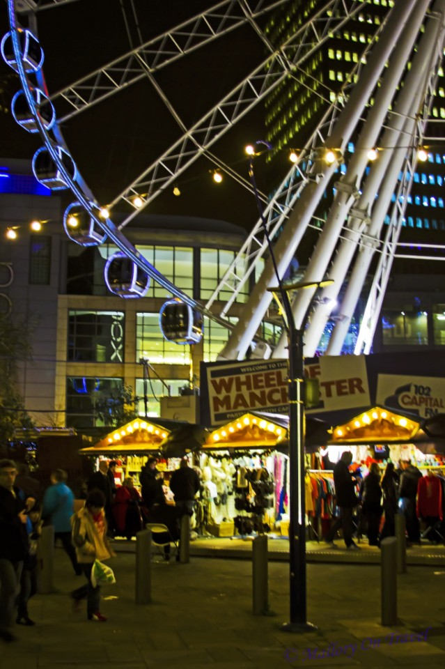 Christmas Market under the Manchester Wheel, Lancashire in the United Kingdom on Mallory on Travel, adventure, adventure travel, photography