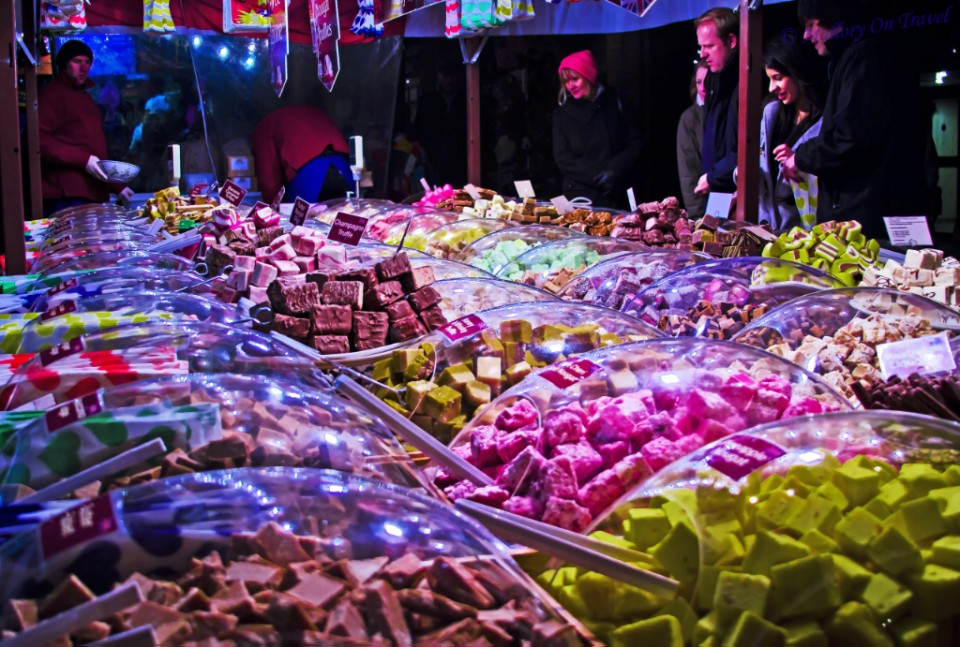 Sweets on offer in a Manchester Christmas market in Albert Square on Mallory on Travel, adventure, adventure travel, photography