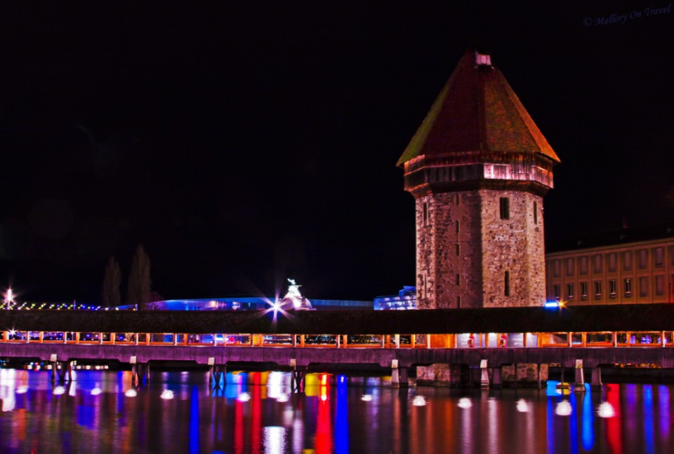 The water tower in the Swiss city of Lucerne at night on Mallory on Travel, adventure, adventure travel, photography