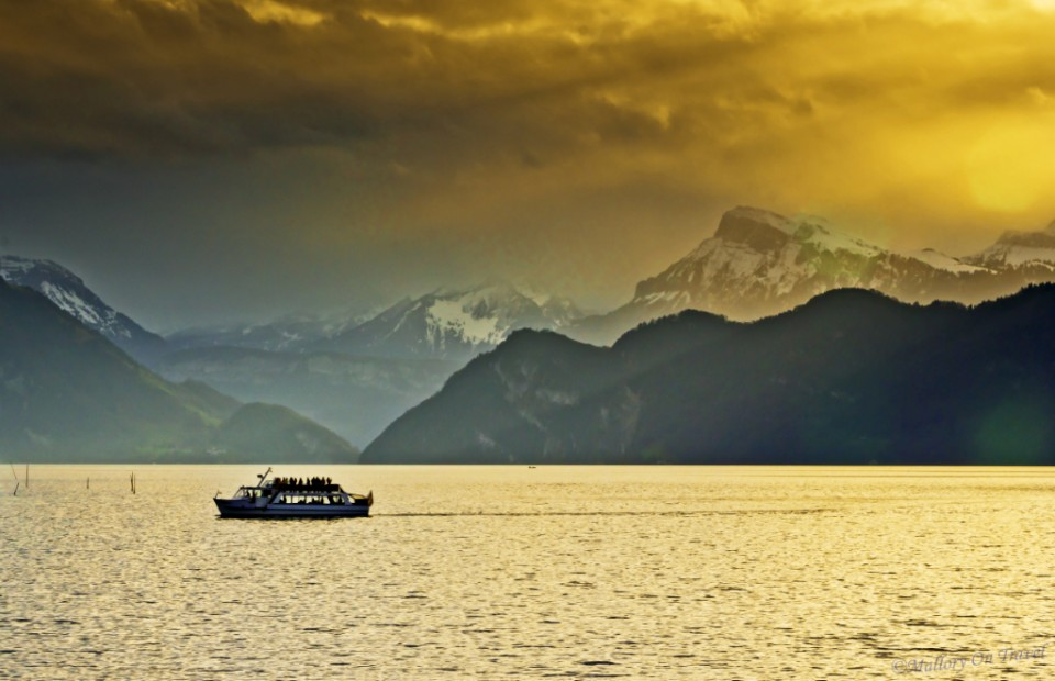 Cruising Lake Lucerne surrounded by the Bernese Alps of Switzerland on Mallory on Travel, adventure, adventure travel, photography