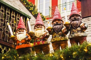 Decorative dwarves on a food stall at the Christmas market in Cologne, Germany  on Mallory on Travel, adventure, adventure travel, photography