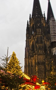 Food stalls at the Christmas market under the Dome Cathedral in Cologne, Germany  on Mallory on Travel, adventure, adventure travel, photography