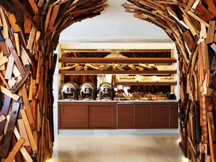 Buffet area in the New Hotel in the Greek capital of Athens on Mallory on Travel, adventure, adventure travel, photography