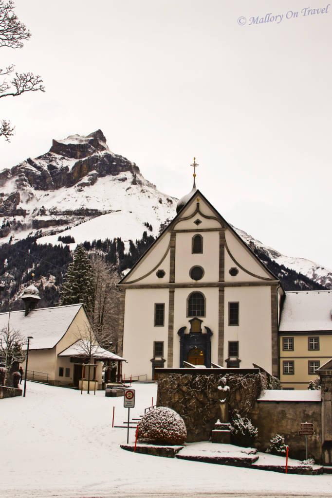 Outside Engelberg Kloster in Switzerland on Mallory on Travel, adventure, adventure travel, photography