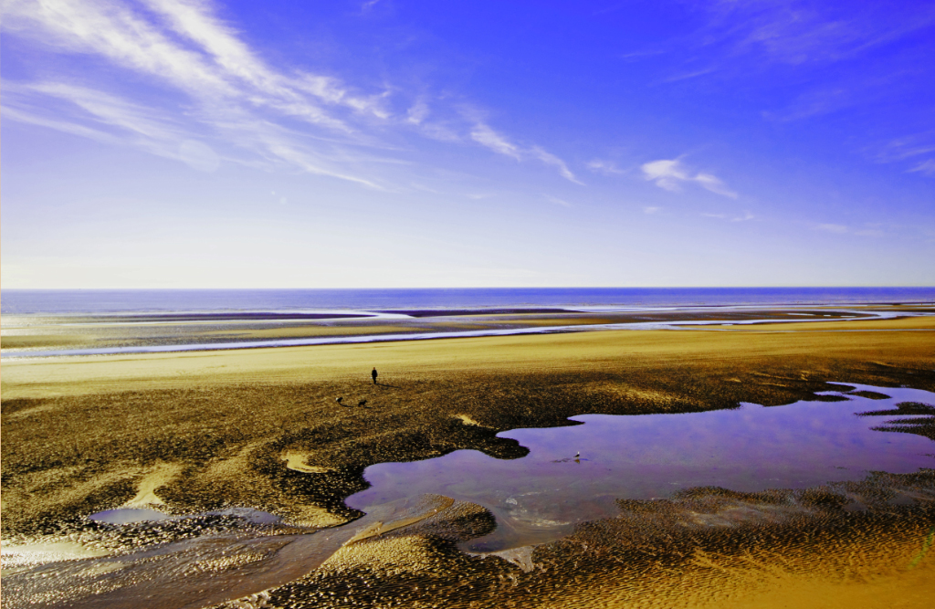 A deserted Blackpool beach on the Fylde Coast, a Lancashire resort in the United Kingdom on Mallory on Travel adventure, photography