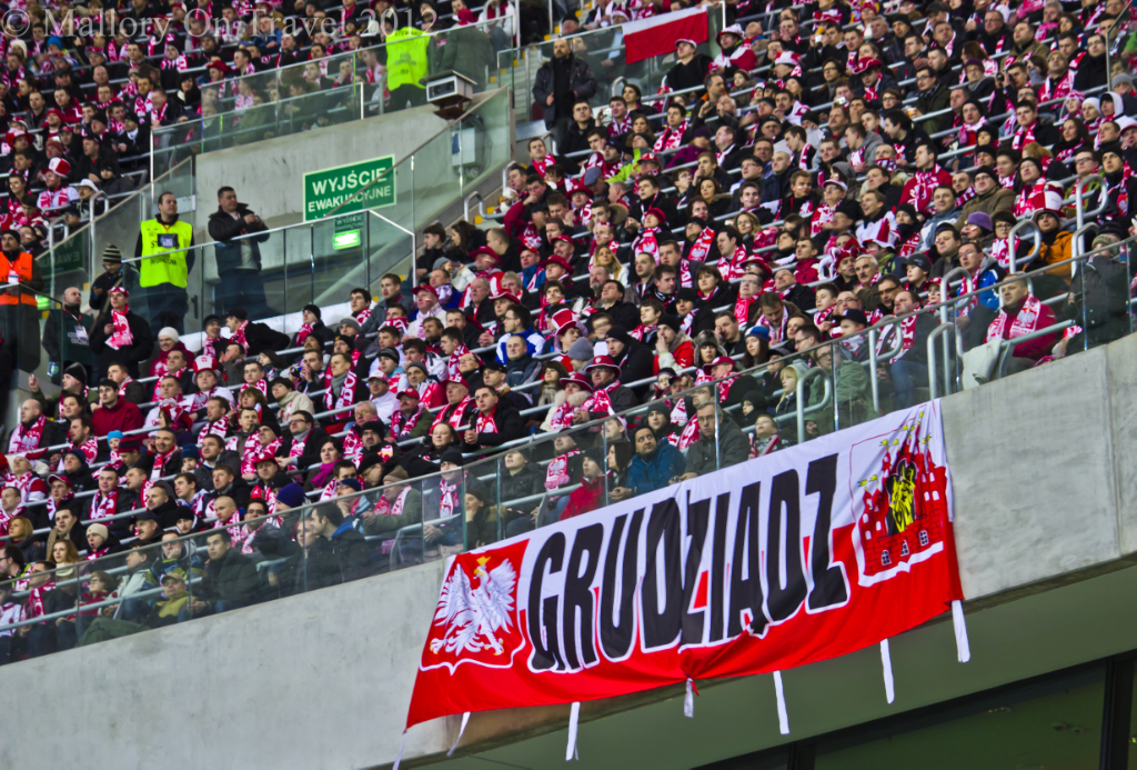 Supporter zone In the National /football Stadium, Warsaw on Mallory on Travel, adventure, adventure travel, photography