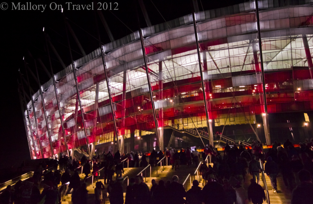 Poland's National Football Satdium in Warsaw on Mallory on Travel, adventure, adventure travel, photography