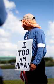 Human Trafficking; Immigrant worker in the United States protesting for his rights on Mallory on Travel adventure, photography