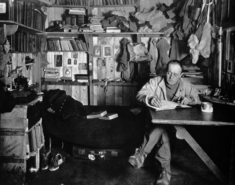 Henry Ponting captures Scott at work in the Antarctic hut on Mallory on Travel adventure, photography