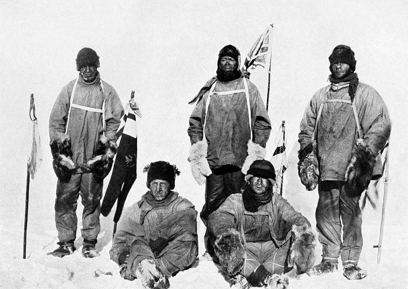 The South Pole party Oates, bowers, Scott, Wilson and Evans in the Antarctic on Mallory on Travel adventure, photography