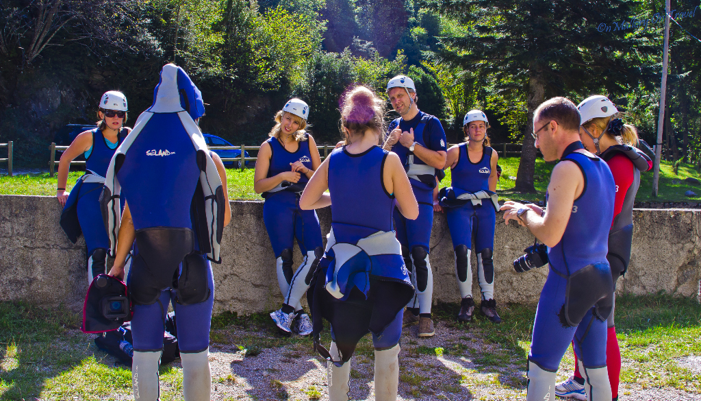 Canyoning crowd in the Catalan, Spain on Mallory on Travel adventure, photography