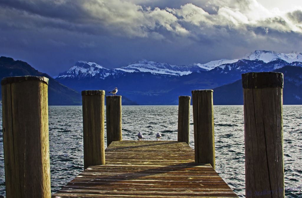 The jetty at Weggis looking over Lake Lucerne, Switzerland on Mallory on Travel adventure, photography