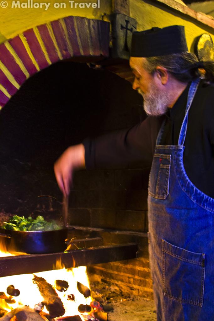 Chef Father Epiphanios cooking at Mylopotamos on Mount Athos, Halkidiki, Greece on Mallory on Travel adventure, photography