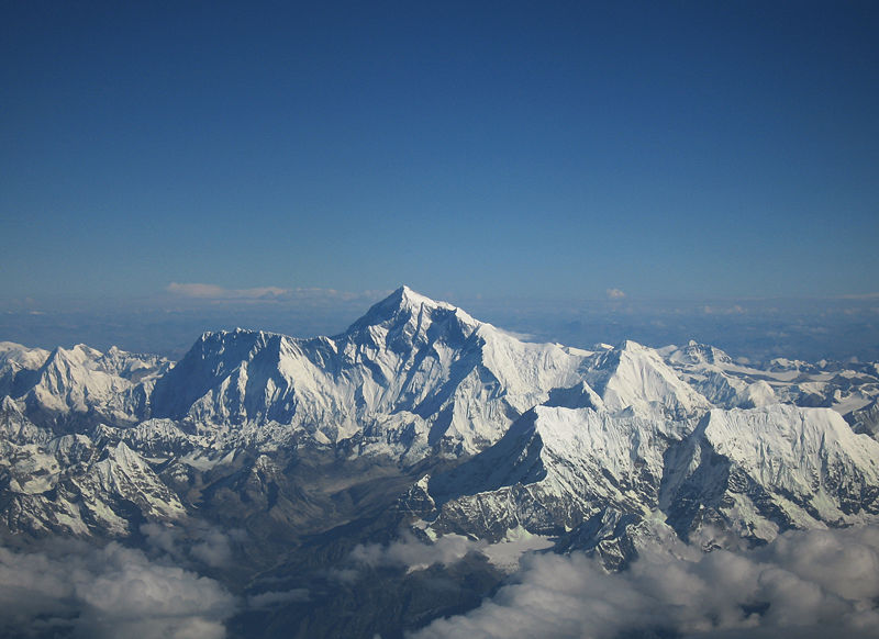 Mount Everest as seen from the air in an aircraft of Drukair in Bhutan on Mallory on Travel adventure photography