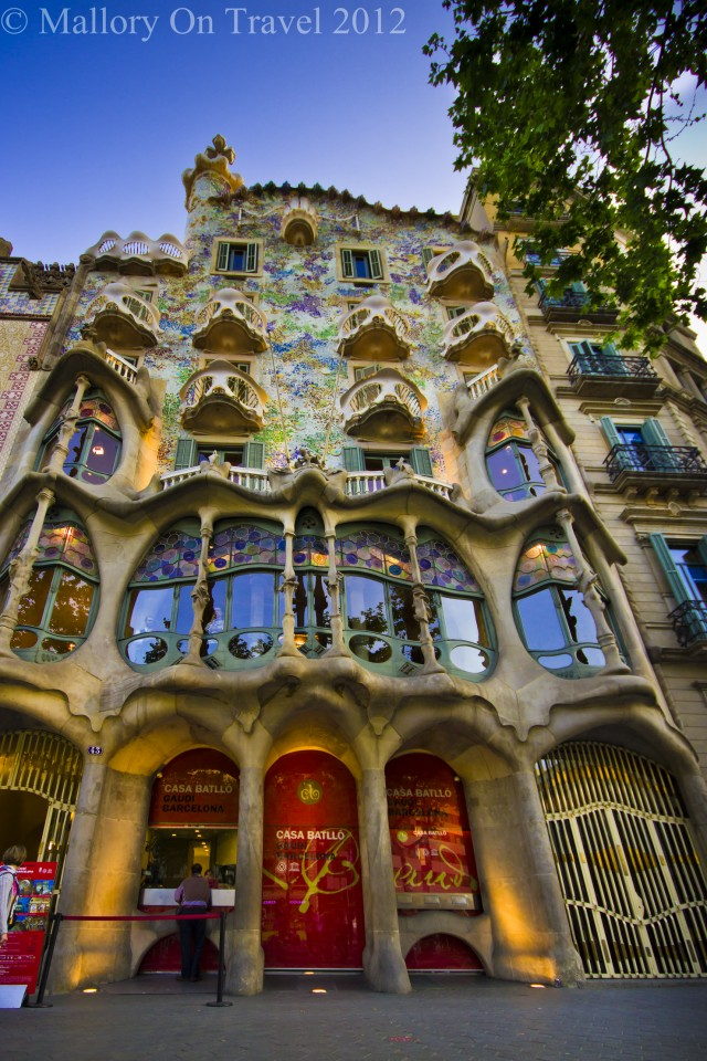 Exploring Gaudi landmarks such as the Casa Batlló in Catalonian Barcelona on Mallory on Travel adventure photography