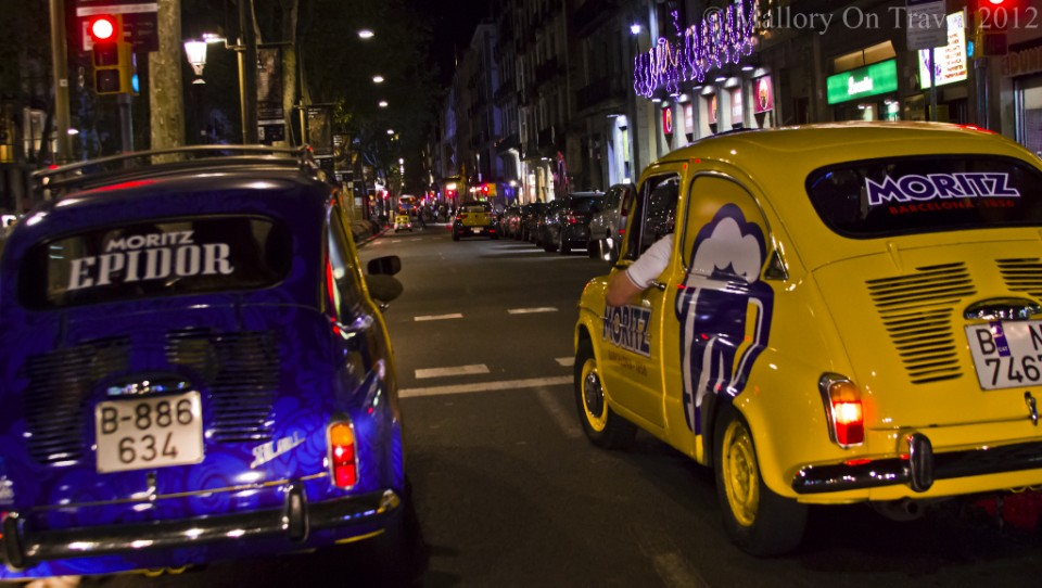 Revving it up on the Barcelona tour in SEAT 600s, Spain on Mallory on Travel adventure photography