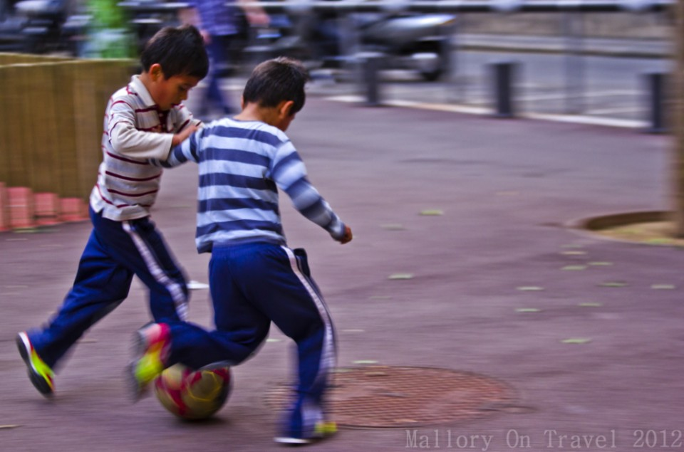 Barcelona football stars of the future in Las Rambles in the Catalonian capital on Mallory on Travel adventure photography