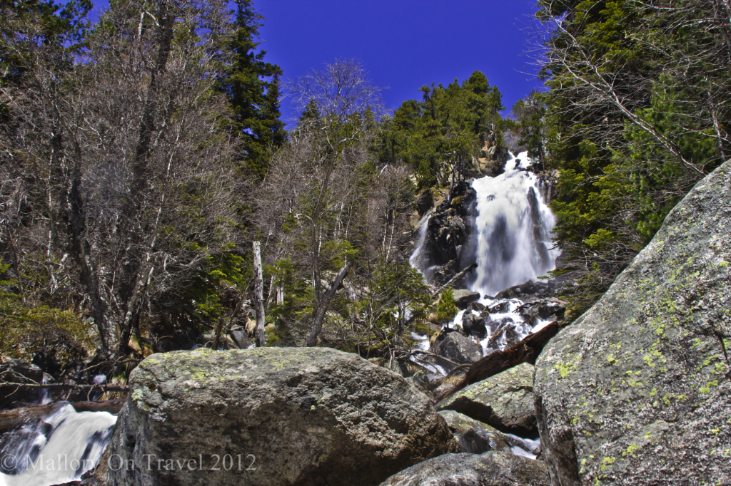 Glacier Lake falls in Aigüestortes i Estany de Sant Maurici National Park, Catalonia, Spain