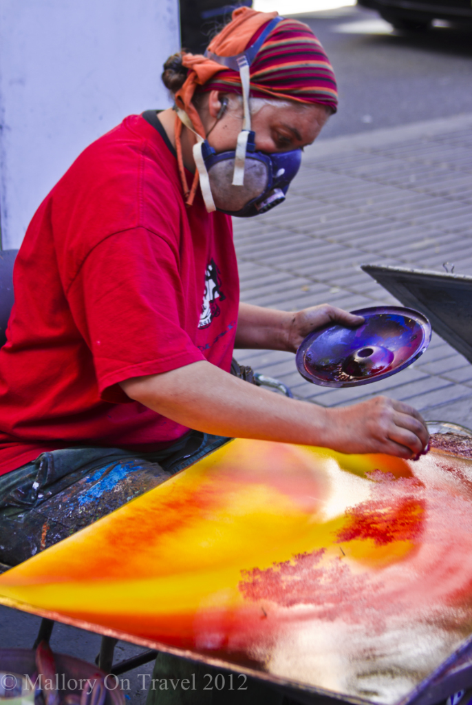Street artist on the streets of Las Ramblas in Barcelona, Spain on Mallory on Travel adventure photography