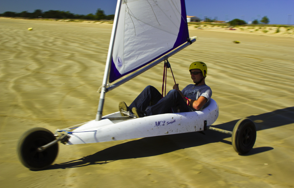 Sand yachting on an Île-de-Ré beach in the French Charente-Maritime region