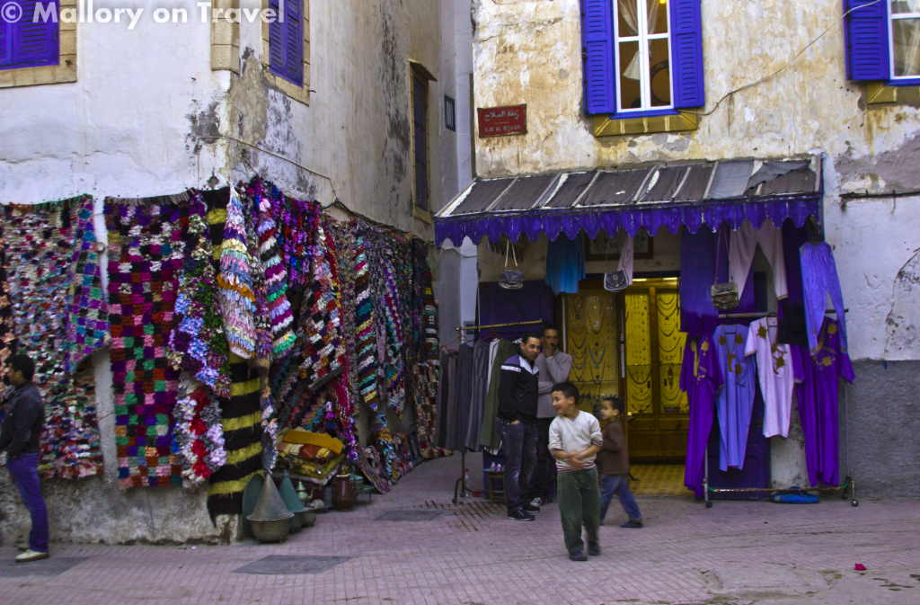 Shop in the Jewish quarter of Essaouira, Morocco in North Africa on Mallory on Travel adventure photography