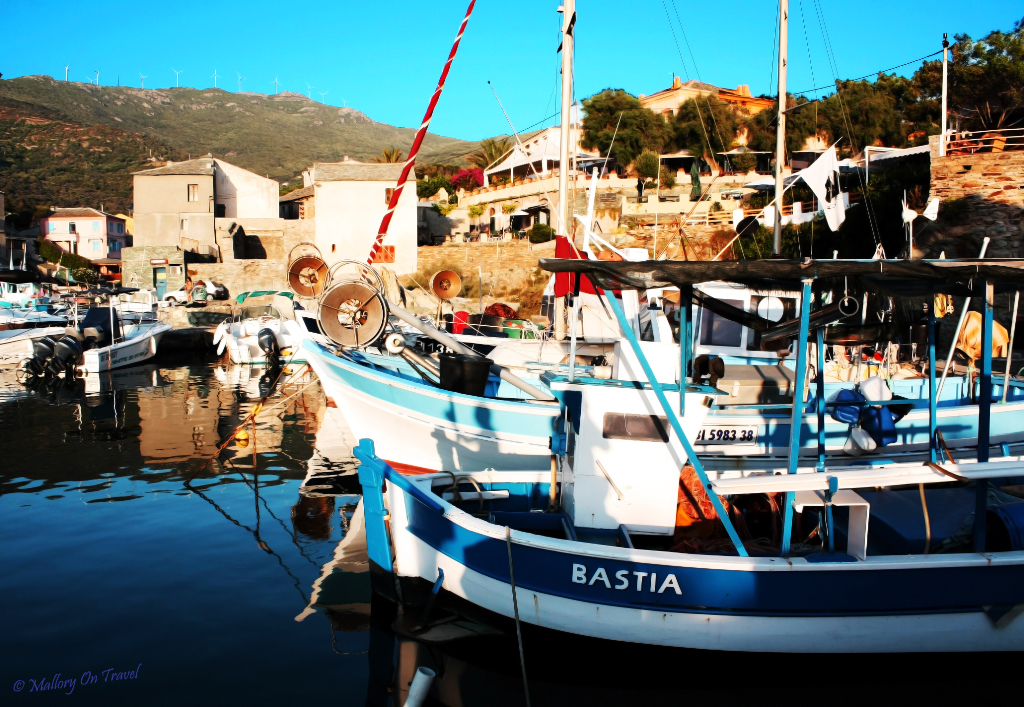 Moored boats in a small port near Calvi on the French island of Corsica 'The island of Beauty' on Mallory on Travel adventure photography