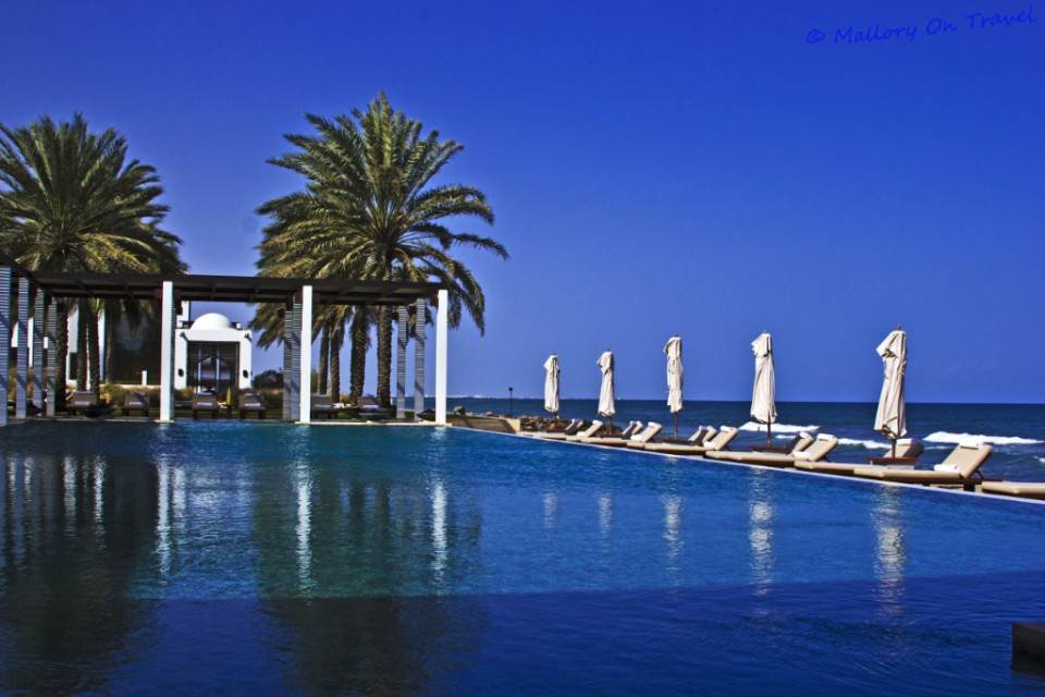 Beachside swimming pool at the Chedi, Muscat, Oman on Mallory on Travel adventure photography
