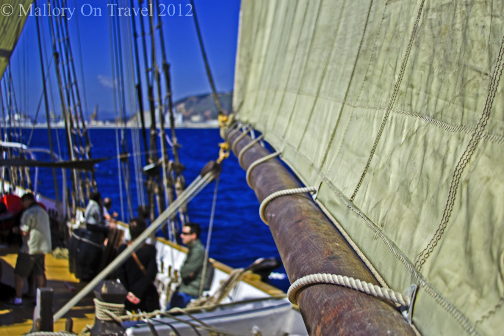 Sailing in the Mediterranean off the coast of Barcelona, Spain on Mallory on Travel adventure photography