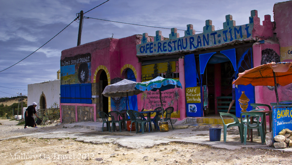 The Jimi Hendrix cafe at Diabat in Moroccan Essaouira on Mallory on Travel adventure photography