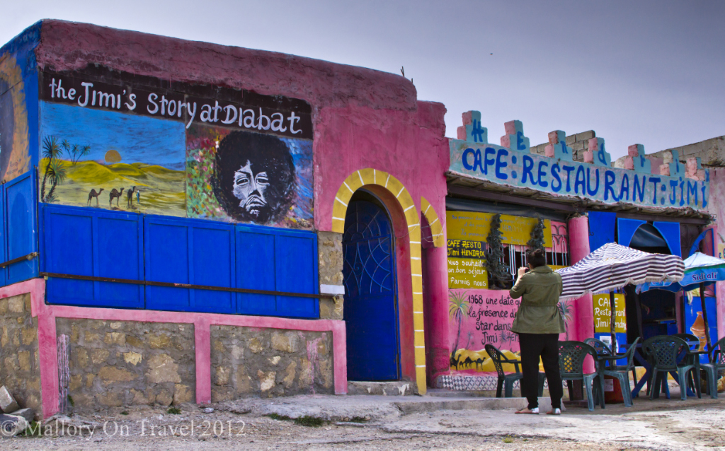 The Jimi hendrix story alive and well in Diabat, Essaouira on the Moroccan coast of the North African Atlantic on Mallory on Travel adventure photography