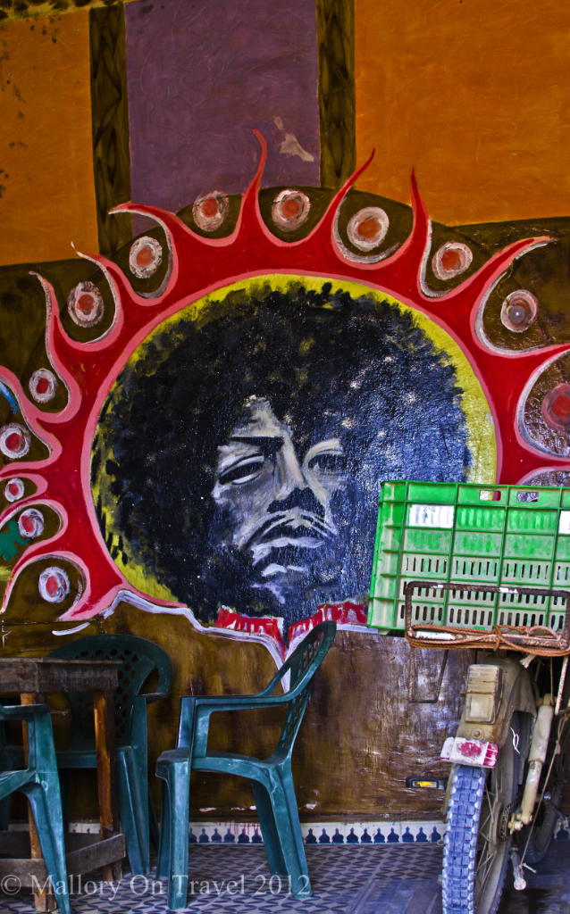 The Jimi Hendrix story version by the cafe at Diabat in Essaouira, Morocco on Mallory on Travel adventure photography