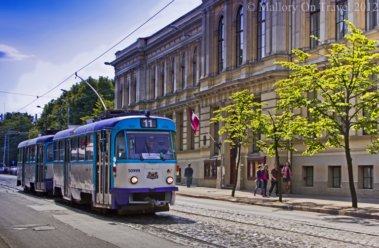 The public transport sstem of Riga, using trams in Baltic Latvia's capital city on Mallory on Travel adventure photography