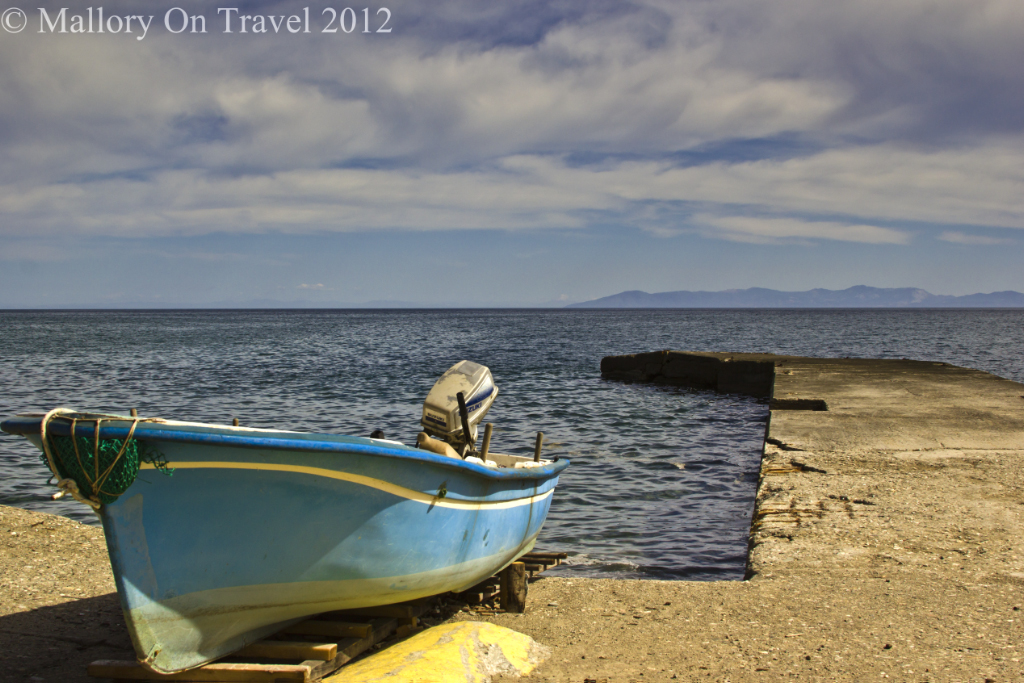 Fishing boat at The Iviron Monastery on Mount Athos, Halkidiki in Greece on Mallory on Travel adventure photography
