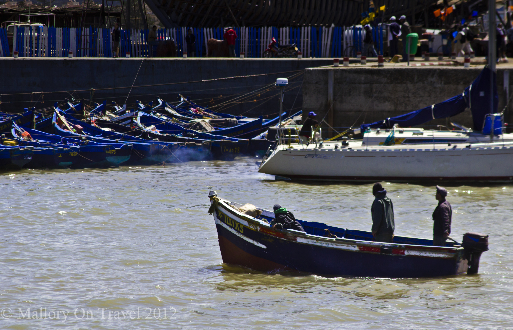 Fishing boat from the Moroccan port of Essaouira on the North African coast of the Atlantic on Mallory on Travel adventure photography
