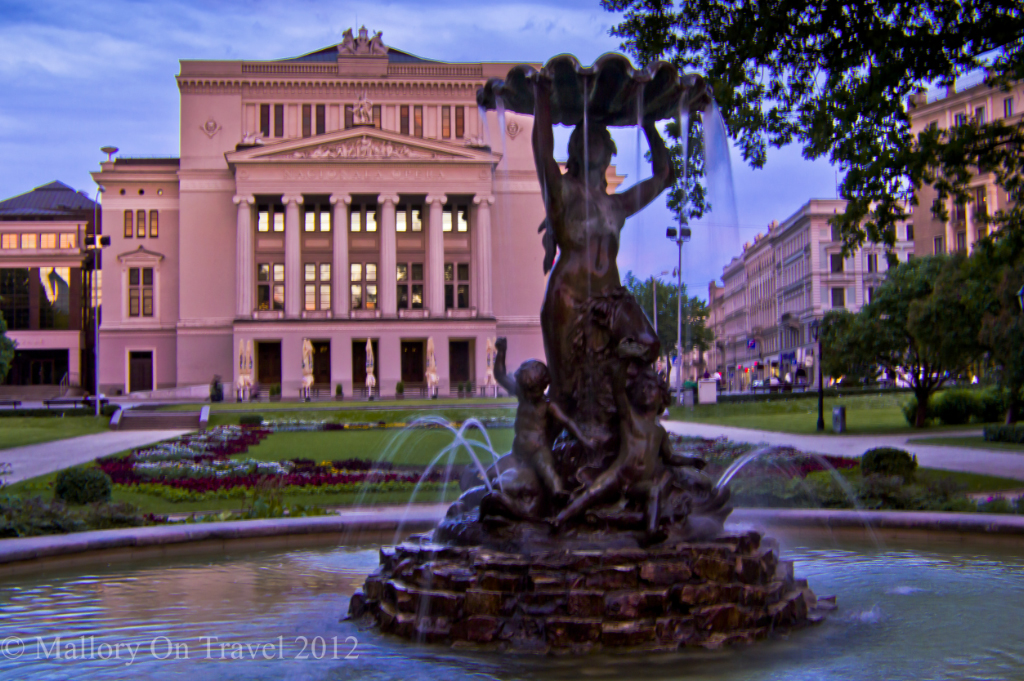 A fountain outside the National Opera House in Riga, Latvia on Mallory on Travel adventure photography