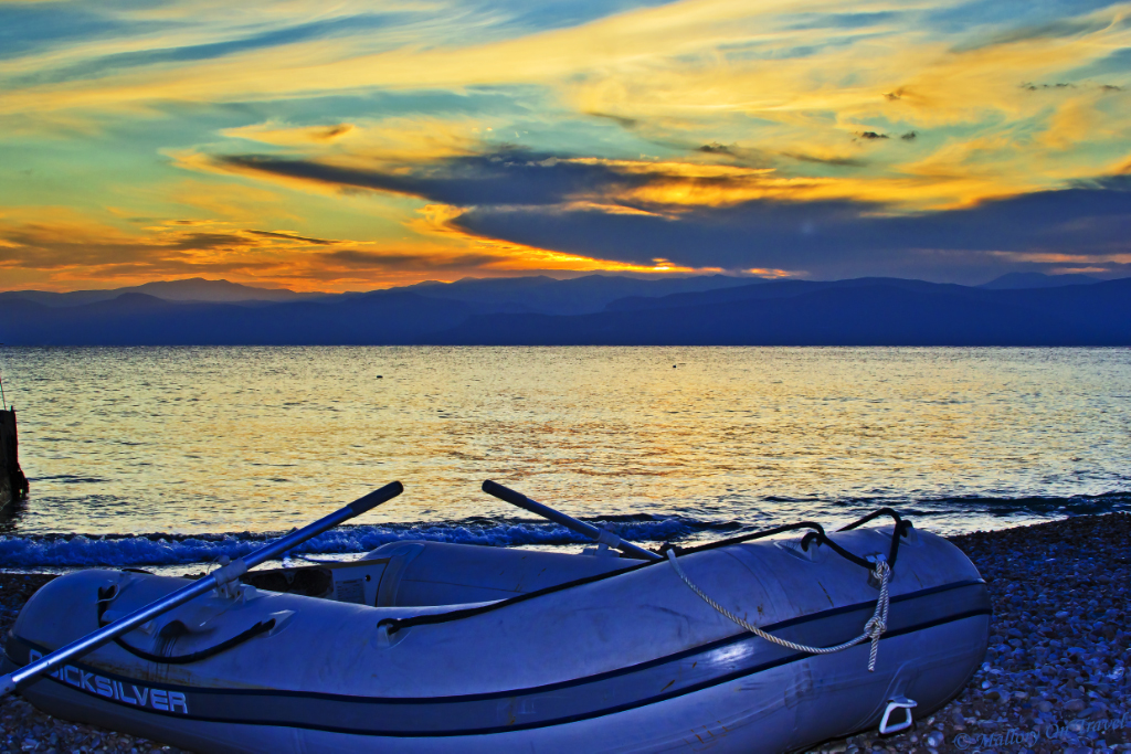 Inflatable dinghy on the Saronic island of Spetses, Greece near Athens in the Aegean Sea on Mallory on Travel adventure photography