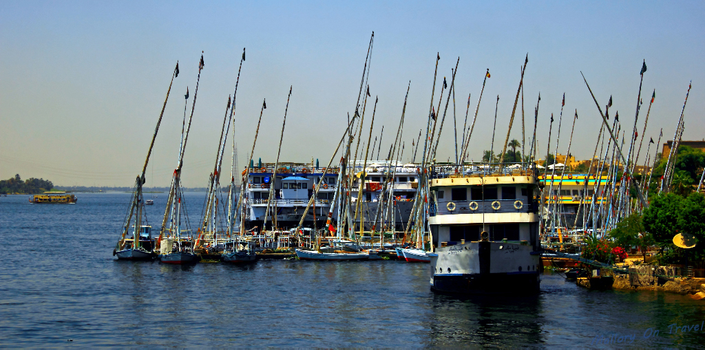 Nile Feluccas in Cairo, capital city of Egypt on the African continent on Mallory on Travel adventure photography