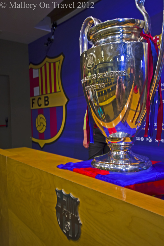 The Champions League trophy at the Cam Nou in Barcelona on Mallory on Travel adventure photography