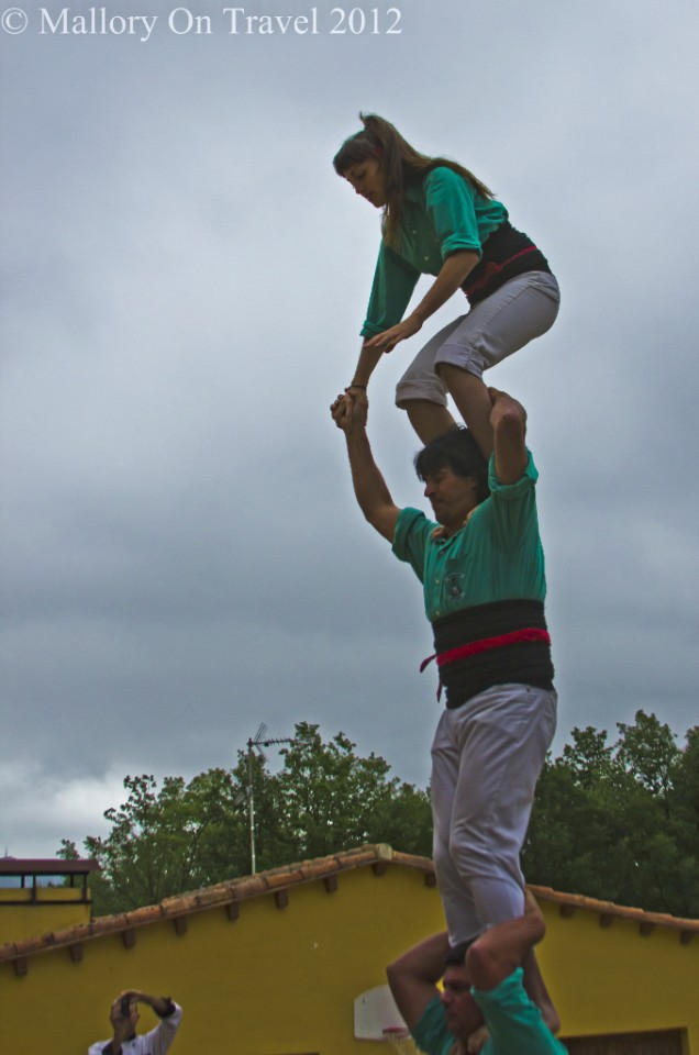 Castellers building a tower for us in Catalonia, Spain on Mallory on Travel adventure photography
