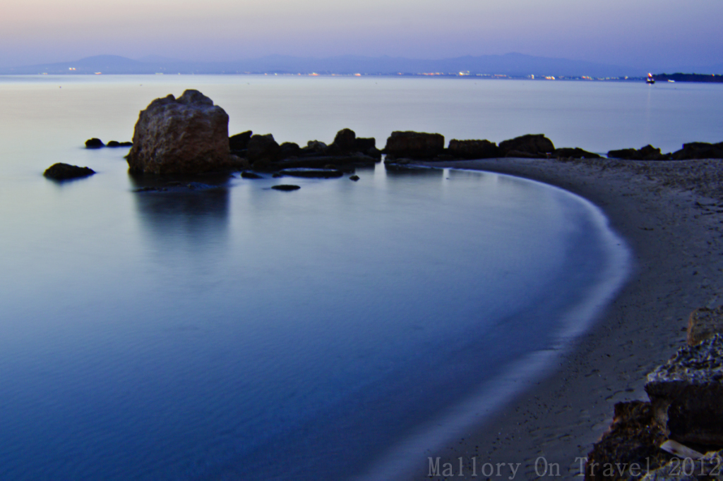 Milky looking sea in a bay in the Sani Resort, Halkidiki in Greece on Mallory on Travel adventure photography