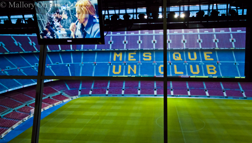 The press box in the Camp Nou, FC Barcelona in Catalonia on Mallory on Travel adventure photography