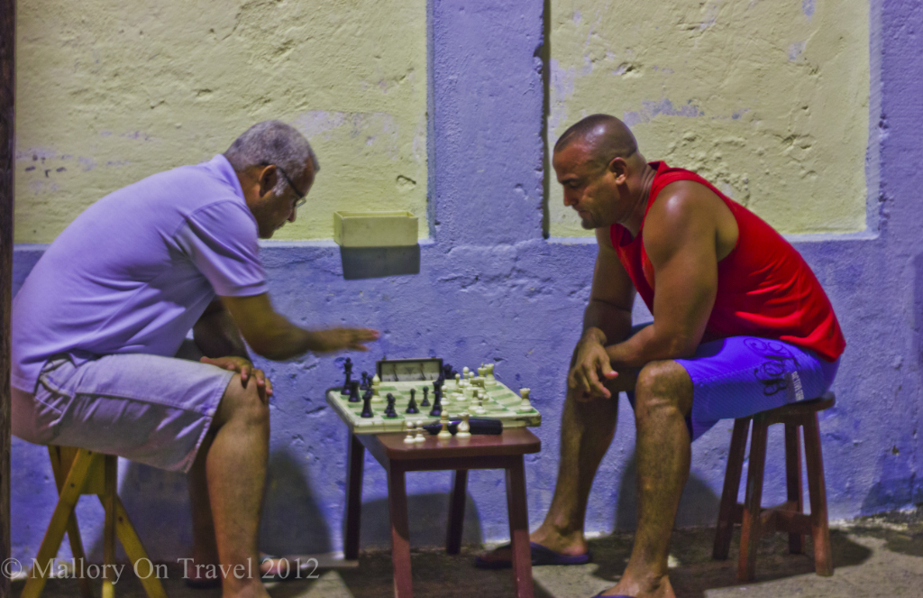 Playing chess in downtown Baracoa, Cuba on Mallory on Travel adventure photography